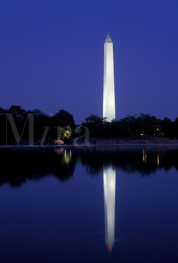 AJ4224, Washington Monument, Washington, DC, District of Columbia, reflection, capital city, The illuminated Washington Monument reflects in the calm water at night in the nations capital Washington, D.C.