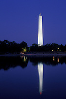AJ4224, Washington Monument, Washington, DC, District of Columbia, reflection, capital city, The illuminated Washington Monument reflects in the calm water at night in the nations capital Washington, D.C.