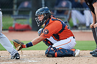 GCL Astros catcher Nathan Perry (51) waits to receive a pitch during a game against the GCL Marlins on August 5, 2018 at FITTEAM Ballpark of the Palm Beaches in West Palm Beach, Florida.  GCL Astros defeated GCL Marlins 2-1.  (Mike Janes/Four Seam Images)
