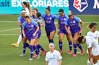 ORLANDO, FL - OCTOBER 17: Ally Haran #32 of the Orlando Pride celebrates her extra time equalizing goal with teammates during a game between North Carolina Courage and Orlando Pride at Exploria Stadium on October 17, 2020 in Orlando, Florida.