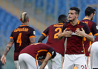 Calcio, Serie A: Roma vs Genoa. Roma, stadio Olimpico, 20 December 2015.<br /> Roma's Alessandro Florenzi celebrates after scoring during the Italian Serie A football match between Roma and Genoa at Rome's Olympic stadium, 20 December 2015.<br /> UPDATE IMAGES PRESS/Isabella Bonotto