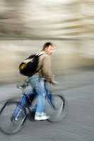 Poland, Krakow, Bicyclist, motion blur
