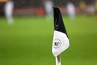 Sunday 09 November 2014 <br /> Pictured: A black and white corner flag<br /> Re: Barclays Premier League, Swansea City FC v Arsenal City at the Liberty Stadium, Swansea, Great Britain.