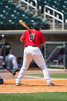 Adrian Nieto (6) of the Birmingham Barons at bat against the Tennessee Smokies at Regions Field on May 4, 2015 in Birmingham, Alabama.  The Barons defeated the Smokies 4-3 in 13 innings. (Brian Westerholt/Four Seam Images)