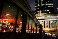 Grand Central Terminal exterior and Pershing Square Restaurant at night