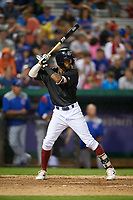 Kane County Cougars left fielder Luis Silverio (14) at bat during a game against the South Bend Cubs on July 21, 2018 at Northwestern Medicine Field in Geneva, Illinois.  South Bend defeated Kane County 4-2.  (Mike Janes/Four Seam Images)
