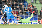 Goalkeeper Vicente Guaita Panadero of Getafe CF try to save the ball during the La Liga 2017-18 match between Getafe CF and Valencia CF at Coliseum Alfonso Perez on December 3 2017 in Getafe, Spain. Photo by Diego Gonzalez / Power Sport Images