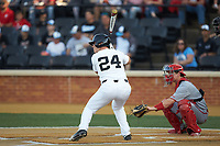 Chris Lanzilli (24) of the Wake Forest Demon Deacons at bat against the North Carolina State Wolfpack at David F. Couch Ballpark on April 18, 2019 in  Winston-Salem, North Carolina. The Demon Deacons defeated the Wolfpack 7-3. (Brian Westerholt/Four Seam Images)