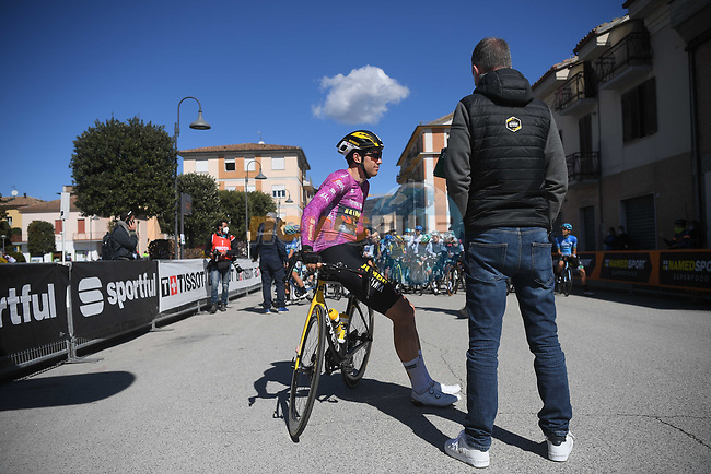 Maglia Ciclamino Wout Van Aert (BEL) Team Jumbo-Visma waits for the start of Stage 6 of Tirreno-Adriatico Eolo 2021, running 169km from Castelraimondo to Lido di Fermo, Italy. 15th March 2021. <br /> Photo: LaPresse/Marco Alpozzi | Cyclefile<br /> <br /> All photos usage must carry mandatory copyright credit (© Cyclefile | LaPresse/Marco Alpozzi)