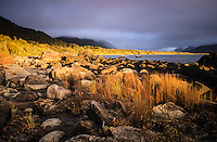 Sunset at Martins Bay on Hollyford Track with heavy clouds in Hollyford Valley, Fiordland National Park, UNESCO World Heritage Area, Southland, New Zealand, NZ