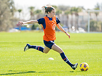 ORLANDO, FL - JANUARY 20: Tierna Davidson #12 of the USWNT takes a shot during a training session at the practice fields on January 20, 2021 in Orlando, Florida.