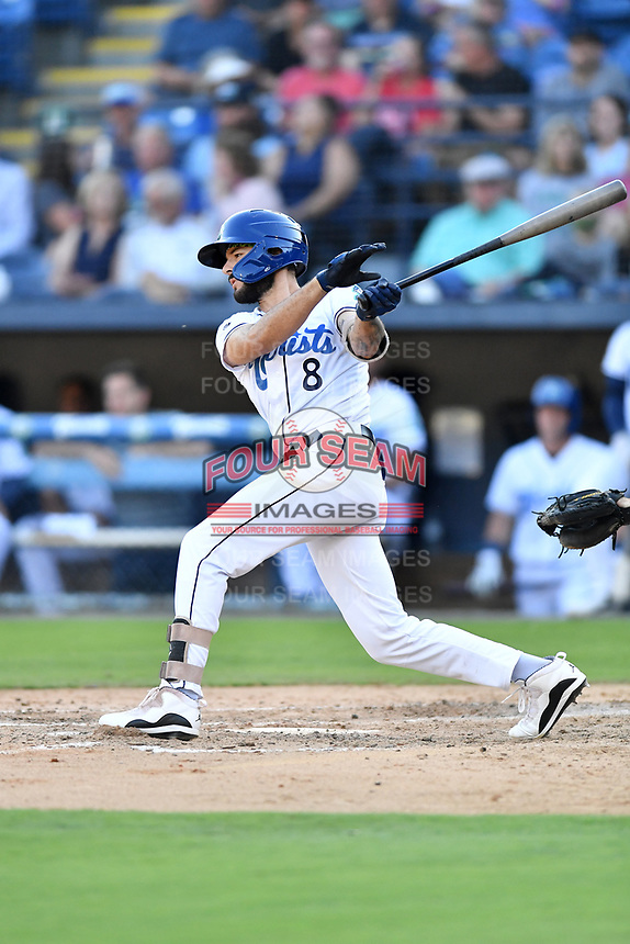 Asheville Tourists Joe Perez (8) swings at a pitch during a game against the Aberdeen IronBirds on June 15, 2021 at McCormick Field in Asheville, NC. (Tony Farlow/Four Seam Images)