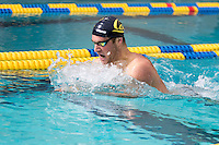 BERKELEY, CA - Feb. 18, 2017: Cal's Nick Silverthorn swims in the first heat of the Men 200 Yard Backstroke.  Cal Men's Swimming and Diving competed against Stanford at Spieker Aquatics Complex.