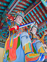 Two of the Four Heavenly Kings at Mu-Ryang-Sa (or Broken Ridge Temple), a Korean Buddhist temple in Palolo Valley, Honolulu, O'ahu.