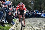 Søren Kragh Andersen (DEN) Team Sunweb climbs the Muur van Geraardsbergen during Omloop Het Nieuwsblad 2020, Belgium. 29th February 2020.<br /> Picture: Serge Waldbillig/cyclingpix.lu | Cyclefile<br /> <br /> All photos usage must carry mandatory copyright credit (© Cyclefile | cyclingpix.lu/Serge Waldbillig)
