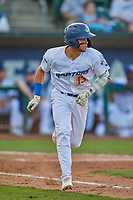 Marco Hernandez (13) of the Ogden Raptors hustles to first base against the Grand Junction Rockies at Lindquist Field on August 28, 2019 in Ogden, Utah. The Rockies defeated the Raptors 8-5. (Stephen Smith/Four Seam Images)