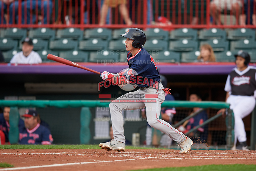 Portland Sea Dogs Jarren Duran (18) at bat during an Eastern League game against the Erie SeaWolves on June 17, 2019 at UPMC Park in Erie, Pennsylvania.  Portland defeated Erie 6-3.  (Mike Janes/Four Seam Images)