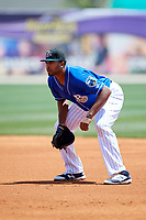 Biloxi Shuckers first baseman Art Charles (47) during a game against the Jackson Generals on April 23, 2017 at MGM Park in Biloxi, Mississippi.  Biloxi defeated Jackson 3-2.  (Mike Janes/Four Seam Images)