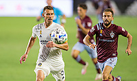 CARSON, CA - SEPTEMBER 19: Daniel Steres #5  of the Los Angeles Galaxy moves to the ball during a game between Colorado Rapids and Los Angeles Galaxy at Dignity Heath Sports Park on September 19, 2020 in Carson, California.