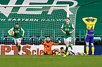 Hibs v St Johnstone…24.11.20   Easter Road      SPFL<br />A gutted Zander Clark as saints concede a late equaliser by Paul McGinn<br />Picture by Graeme Hart.<br />Copyright Perthshire Picture Agency<br />Tel: 01738 623350  Mobile: 07990 594431