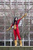 Spider Woman Cosplay, Female Super Hero, Emerald City Comicon 2017, Seattle, WA, USA.