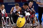 L'èquipe canadienne de rugby obtient la médaille d'argent aux jeux paralympiques d'Athènes, elle a été vaincu par l'équipe de la Nouvelle-Zélande sur la photo Ian Chan .  (Jean-Baptiste Benavent 25 septembre).
