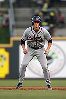 Designated hitter Bryce Ball (45) of the Rome Braves take a lead off first base in a game against the Columbia Fireflies on Saturday, August 17, 2019, at Segra Park in Columbia, South Carolina. Rome won, 4-0. (Tom Priddy/Four Seam Images)