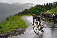 Wout van Aert (BEL/Jumbo-Visma) descending the Col du Pré (HC/1748m) towards the Barrage de Roselend in, yet again, grim conditions.<br /> <br /> Stage 9 from Cluses to Tignes (145km)<br /> 108th Tour de France 2021 (2.UWT)<br /> <br /> ©kramon
