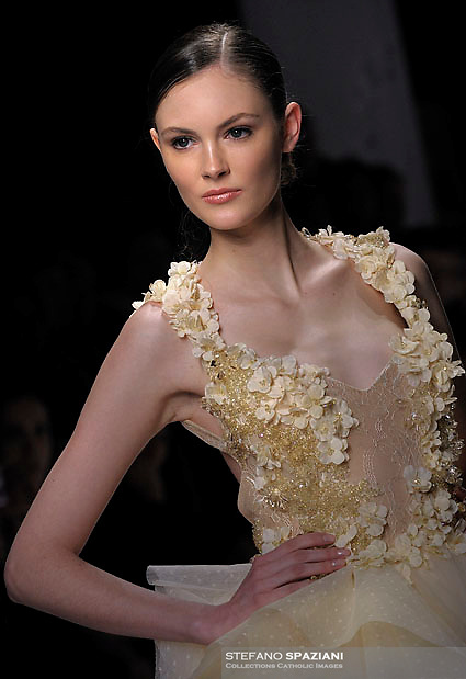 Lebanese Fashion Designer  Abed Mahfouz featured at Rome Fashion Week,Fashion show. Presentation of S/S 2013.Italian Haute Couture collection, January 28, 2013