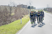 Team Orica-Scott during the 2017 Strade Bianche recon (the day before the race)
