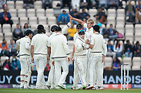 New Zealand and Kyle Jamieson, New Zealand celebrate the wicket of Rishabh Pant, India during India vs New Zealand, ICC World Test Championship Final Cricket at The Hampshire Bowl on 20th June 2021