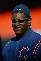 Sammy Sosa of the Chicago Cubs during a 2003 season MLB game at Dodger Stadium in Los Angeles, California. (Larry Goren/Four Seam Images)