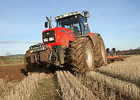Stephen Robson ploughing a 25 acres field of heavy land at Mount Pleasant Farm, Crookham, Cornhill-on-Tweed, Northumberland.