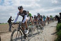 Fabian Cancellara (CHE/TrekFactoryRacing) followed closely by Sep Vanmarcke (BEL/Belkin), John Degenkolb (DEU/Giant-Shimano) & Zdenek Stybar (CZE/OPQS)<br /> <br /> Paris-Roubaix 2014