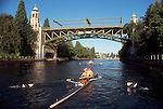 Seattle, Women rowing a pair in the Montlake Cut, Montlake Bridge, Lake Washington Ship Canal, Washington State, Pacific Northwest, USA, Seattle Yacht Club crew, released,.