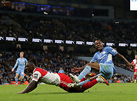 21st September 2021; Etihad Stadium,Manchester, England; EFL Cup Football Manchester City versus Wycombe Wanderers; Raheem Sterling of Manchester City collides with Anthony Stewart of Wycombe Wanderers