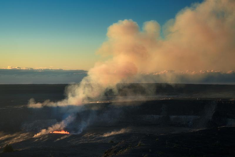 Lava eruption out of Kilauea volcano. Hawaii Volcanoes National Park, Hawaii