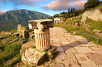 Ionic Coloumn. Delphi, archaeological site, Greece,