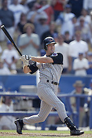 Steve Finley of the Arizona Diamondbacks bats during a 2002 MLB season game against the Los Angeles Dodgers at Dodger Stadium, in Los Angeles, California. (Larry Goren/Four Seam Images)