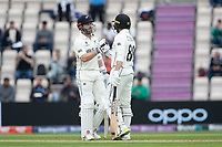 Kane Williamson, New Zealand congratulates Devon Conway, New Zealand on his half century during India vs New Zealand, ICC World Test Championship Final Cricket at The Hampshire Bowl on 20th June 2021