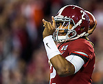 Alabama quarterback Jalen Hurts passes against Clemson in the first half of the 2017 College Football Playoff National Championship in Tampa, Florida on January 9, 2017.  Photo by Mark Wallheiser/UPI