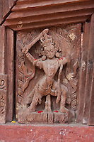 Kathmandu, Nepal.  Jaganath Temple, Dedicated to Krishna.  Woopdcarving.  Durbar Square.  16th. Century.