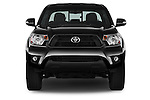 Car photography straight front view of a 2015 Toyota Tacoma PreRunner 4 Door Pick up Front View