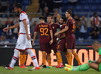 Calcio, Serie A: Roma, stadio Olimpico, 21 settembre 2016.<br /> Roma's Mohamed Salah, second from right, celebrates with teammates, from left, Stephan El Shaarawy, Francesco Totti and Edin Dzeko, after scoring during the Serie A soccer match between Roma and Crotone at Rome's Olympic stadium, 21 September 2016. Roma won 4-0.<br /> UPDATE IMAGES PRESS/Isabella Bonotto
