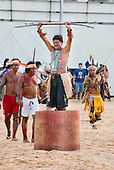 A Karaja archer, one of the oldest contestants in the games, celebrates after winning the archery competition at the International Indigenous Games, in the city of Palmas, Tocantins State, Brazil. Photo © Sue Cunningham, pictures@scphotographic.com 31st October 2015