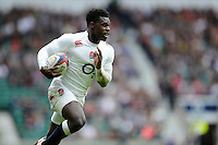 Christian Wade of England in full flight during the match between England and Barbarians at Twickenham Stadium on Sunday 31st May 2015 (Photo by Rob Munro)