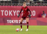 KASHIMA, JAPAN - JULY 27: Alyssa Naeher #1 of the USWNT brings the ball upfield during a game between Australia and USWNT at Ibaraki Kashima Stadium on July 27, 2021 in Kashima, Japan.
