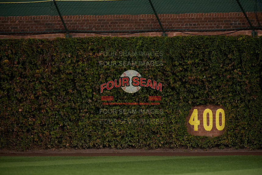 General view of the Chicago Cubs famous Ivy brick wall during Game 4 of the Major League Baseball World Series against the Cleveland Indians on October 29, 2016 at Wrigley Field in Chicago, Illinois.  (Mike Janes/Four Seam Images)