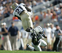 State College, PA - 09/15/2012:  Penn State Safety Stephen Obeng-Agyapong upends Navy SB Gee Gee Greene.  Greene led all rushers for Navy with 70 yards on 8 carries.  Obeng-Agyapong had 9 tackles during the game. Penn State defeated Navy by a score of 34-7 on Saturday, September 15, 2012, at Beaver Stadium.  The win was the first for new Penn State head coach Bill O'Brien...Photo:  Joe Rokita / JoeRokita.com..Photo ©2012 Joe Rokita Photography