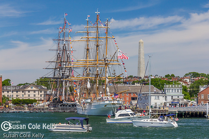 The U. S. Coast Guard Cutter Eagle and the USS Constitution in the Charlestown Navy Yard, Boston, Massachusetts, USA